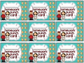 Reward/Homework punch cards - Hollywood-themed