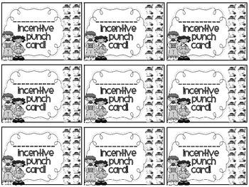 Reward/Homework punch cards: Ice-cream theme