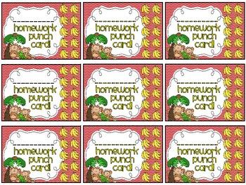 Reward/Homework punch cards: Monkeys-themed