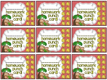 Reward/Homework punch cards: Monkeys-themed