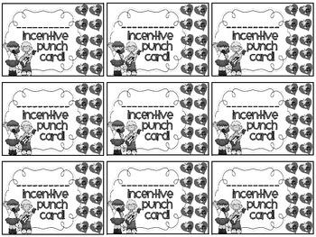 Reward/Homework punch cards: Rock N Roll-themed