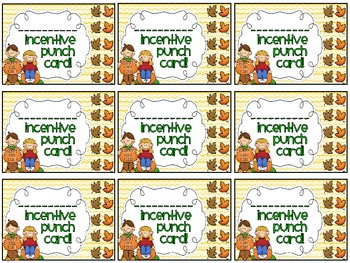 Reward/Homework punch cards: September/fall-themed