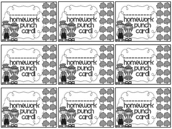 Reward/Homework punch cards: St. Patrick's Day-themed