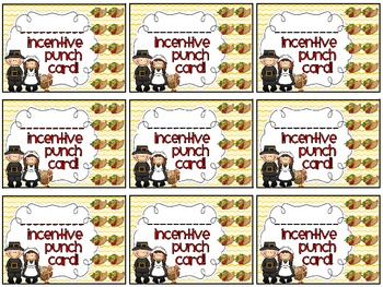 Reward/Homework punch cards: Thanksgiving-themed