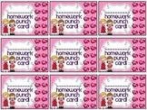 Reward/Homework punch cards: Valentine's Day-themed