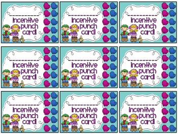 Reward/Homework punch cards: Winter-themed