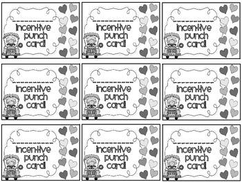 Reward/Homework punch cards: back to school- themed
