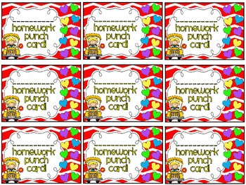 Reward/Homework punch cards: back to school- themed
