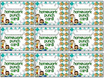 Reward/Homework punch cards: beach/summer-themed