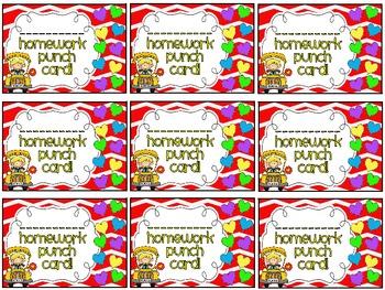 Reward/Homework punch cards - seasonal/holidays set