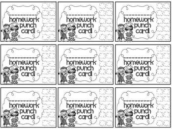 Reward/Homework punch cards: spring-themed