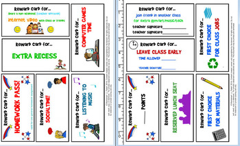 Rewards Cards for Upper Elementary/Middle School (7 Pages, 42 Cards!)
