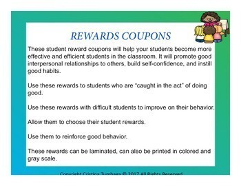 Rewards and Affirmation: Coupons and Cards for Classroom Management