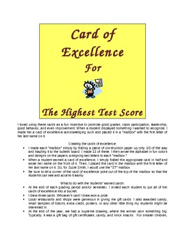 Rewards and Incentives for Classroom Management: Cards of Excellence