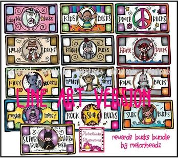 Rewards bucks LINE ART bundle by melonheadz