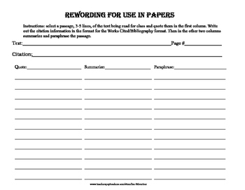 Rewording for Use in Papers