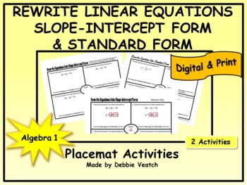 Rewrite Linear Equations Into Slope Intercept Form and Standard Form Placemats