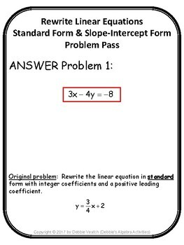Rewrite Linear Equations Into Standard Form & Slope-Intercept Form Problem Pass