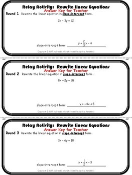 Rewrite Linear Equations in Standard & Slope-Intercept Form Relay Activity