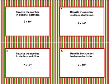 Rewrite The Number From Scientific Notation to Decimals Task Cards-Christmas Fun