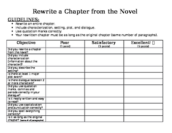 Rewrite a Chapter from a Novel! (rubric included)