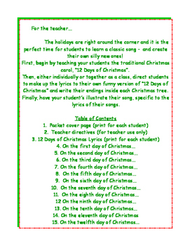 Rewrite the 12 Days of Christmas!