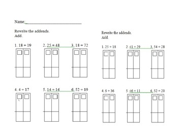 Rewrite to Add Math Regrouping Homework Sheets Common Core
