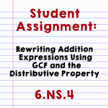 Rewriting Addition Expressions Using Distributive Property/GCF - Assignment