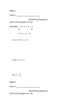 Rewriting Equations Do Now/Warm-up with Answer Key