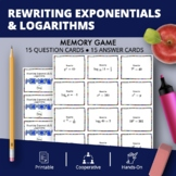 Rewriting Exponentials & Logarithms Math Memory Game