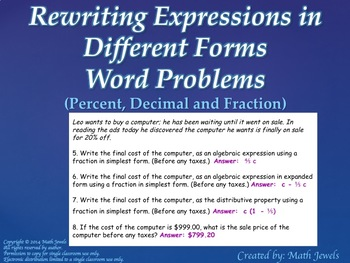 Rewriting Expressions in Different Forms - Word Problems