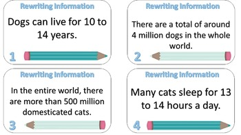 Rewriting Information Into Your Own Words Task Cards {Animal Version}
