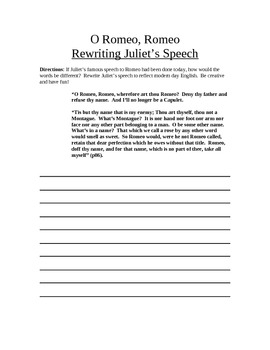 Rewriting Juliet's Speech to Romeo