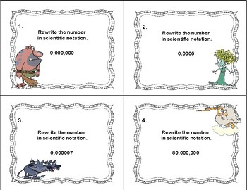 Rewriting Numbers From Decimals to Scientific Notation Task Cards-Greek Myths