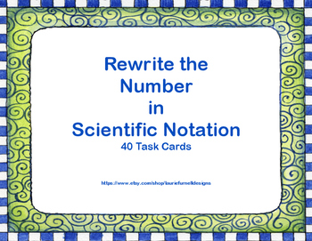 Rewriting Numbers From Decimals to Scientific Notation Task Cards-Plaid