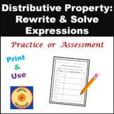 Rewriting & Solving Equations Using the Distributive Property Worksheet