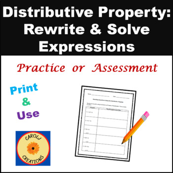 Rewriting & Solving Equations Using the Distributive Property ...