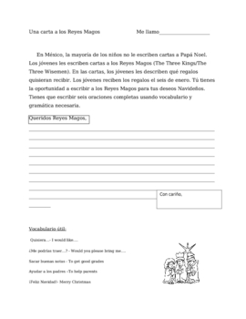 Reyes Magos: Spanish Writing assignment for La Navidad en Mexico