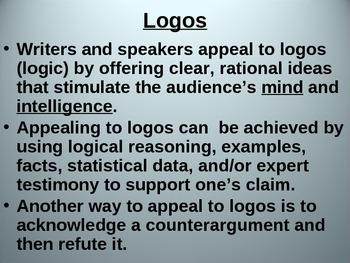 Rhetoric PowerPoint - Logos, Pathos, Ethos + Practice Activity