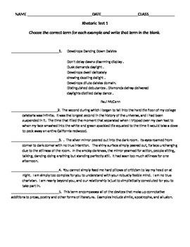 Rhetoric Test Set 1 for AP Language and Comp/AP Literature