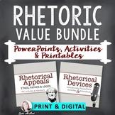 Rhetoric Value Bundle: Appeals & Devices PPTs, Activities & Printables