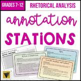 Rhetorical Analysis Annotation Stations: Ethos, Pathos, Logos