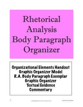 Rhetorical Analysis Body Paragraph Organizer; AP Language
