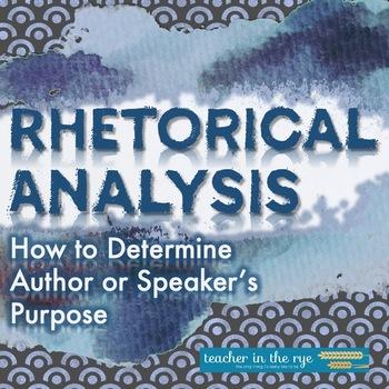 Rhetorical Analysis--Determining an Author's or Speaker's Purpose {CCSS}
