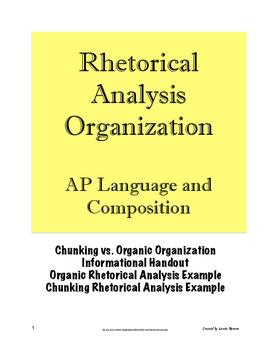 Rhetorical Analysis Essay Organization; AP Lang; (AP Language & Composition)