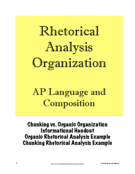 Rhetorical Analysis Essay Organization AP Lang Language