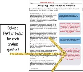 Rhetorical Analysis Guided Reading: Malala and Thurgood Marshall