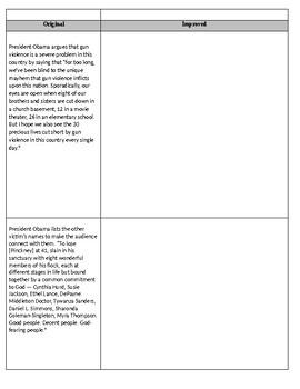 Rhetorical Analysis Mini Unit: President Obama's Eulogy for the Reverend Pickney