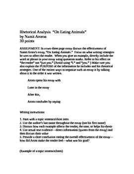 "Rhetorical Analysis: ""On Eating Animals"""