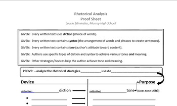 Rhetorical Analysis Proof Sheet